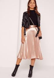 midi skirt pleated midi skirt gold missguided