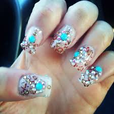 3d nails from blue diamond nails leopard and turquoise beauty