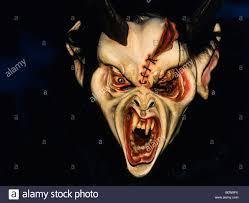 krampus or devil mask carved wooden mask stock photo royalty