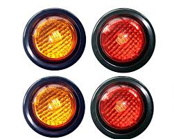 2 led trailer lights 2 amber 2 red led 2 round clearance side marker light kits with