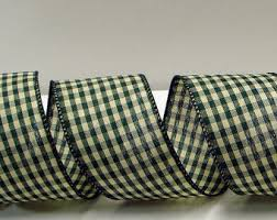 gingham ribbon 1 5 inch wired gingham ribbon with a scalloped printed edge