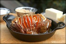 marshmallow stuffed hasselback sweet potatoes with brown sugar butter