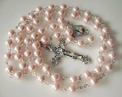 beautiful rosaries beautiful pink of pearl rosary necklace italy cross