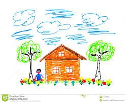 child u0027s drawing house stock photo image 11472880