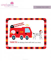 truck birthday party thank you cards