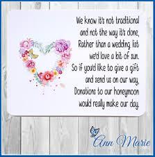 wedding gift honeymoon fund 10 personalised wedding money poem honeymoon wish poems card