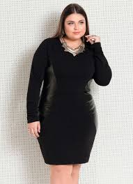 Preferidos Vestido Preto Plus Size Quintess com Recortes - Quintess #RC33