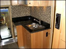 kitchen cabinets for small galley kitchen black marble countertop and silver steel sink of brown wooden