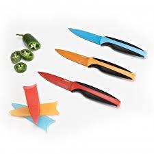 paderno colour edge paring knife with sheath orange kitchen
