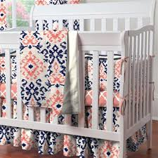 Navy And Coral Crib Bedding Navy And Coral Ikat Mini Crib Bedding Carousel Designs