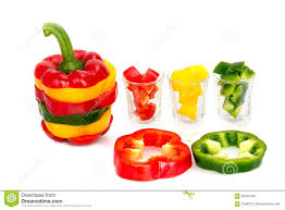 three colored red yellow green mix bell pepper vegetarian ripe