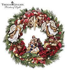 kinkade seasons blessings light up nativity wreath