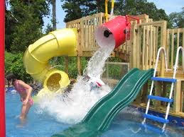 look at this fabulous backyard water park that my husband i mean