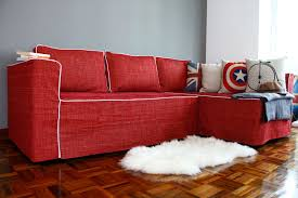 furniture red sectional ikea sofa bed with decorative cushions