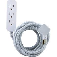 white extension cord ge pro designer extension cord 8 3 outlets gray and white
