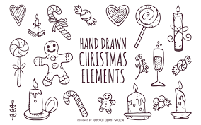 cute hand drawn christmas elements vector download