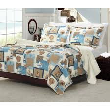 Fish Themed Comforters Nautical Brown Blue Beach Themed Bedding For Adults Bedroom With