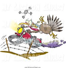 cartoons thanksgiving clip art of a turkey bird escaping thanksgiving on a motorcycle by