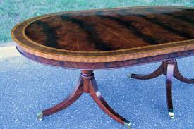 large oval mahogany double pedestal dining room table with formal oval inlaid mahogany dining table with leaves