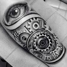 amazing eye with gear style spiral clock tattoo golfian com