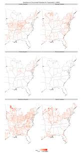 Map Of The United States In 1860 by Adjusting Maps Of Religion For Population A Failed Experiment