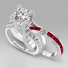 ruby wedding rings amazing two in one big cut wedding ring set with