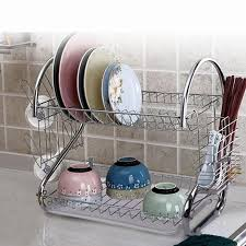 Dish Drainer 2 Tier Stainless Steel Dish Drainer Cup Dish Rack Cutlery Tray