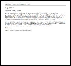 permission letter for travelling child livecareer
