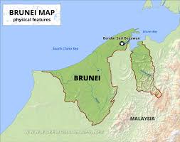 China Physical Map brunei physical map