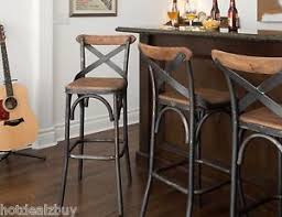 rustic industrial bar stools 30 square wood back seat bar stool high chair kitchen metal