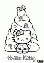 Hello Kitty Is Very Dear To Her Doll Coloring Page Indoor Recess Hello Tree Coloring Page
