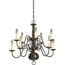 Progressive Lighting Chandeliers Progress Lighting Americana Collection 10 Light Antique Bronze