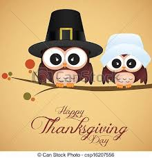 clipart vector of thanksgiving day abstract owls on special