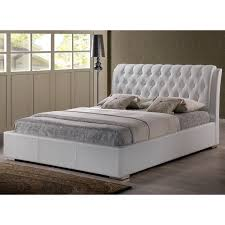 Full Platform Bed With Headboard Baxton Studio Bianca Modern And Contemporary Faux Leather