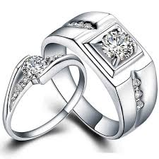 promise rings white images Couple pair wedding ring set white gold plate matching engagement jpg