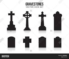 halloween tombstones on a black background tombstone silhouette icons isolated on white background stock