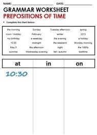 english grammar worksheet prepositions of time at in on http