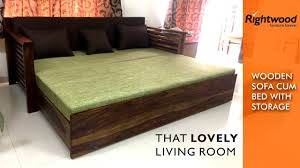 Living Room Wooden Sofa Furniture Sofa Bed Wooden With Storage Is Crafted In Teak Wood