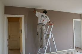 chambre grise et taupe peinture murale taupe