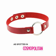 red leather necklace images Red ring faux leather choker necklace the red box jpg