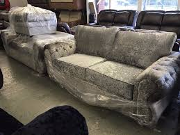 Chesterfield Sofa Manchester by Silver Steel Crushed Velvet 3 And 3 Seater Sofa Three Plus
