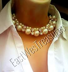 chunky pearl crystal necklace images Ewt white pearl choker necklace beaded chunky pearl jpg