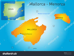 Mallorca Spain Map by Vector Color Map Mallorcamenorca Spain Stock Vector 216064942