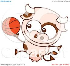 clipart of a cartoon cow playing basketball royalty free vector