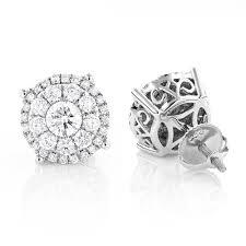 diamond cluster earrings unisex diamond cluster earrings 14k gold 2ct halo studs