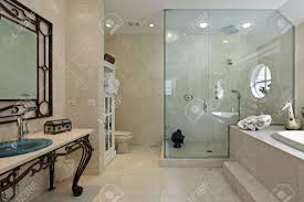 master bath in luxury home with large step in shower stock photo