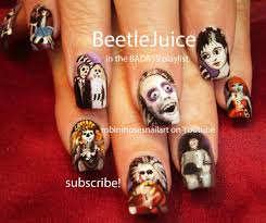 beetlejuice nails halloween nail art design tutorial youtube