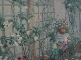 impressionist signed contemporary painting of a garden trellis and