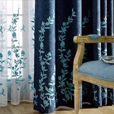 Green And Blue Curtains Style Navy Blue Linen Embroidery Country Curtains