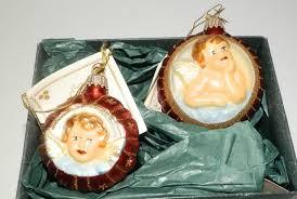 2 glass florence medallion ornaments krebs lauscha design